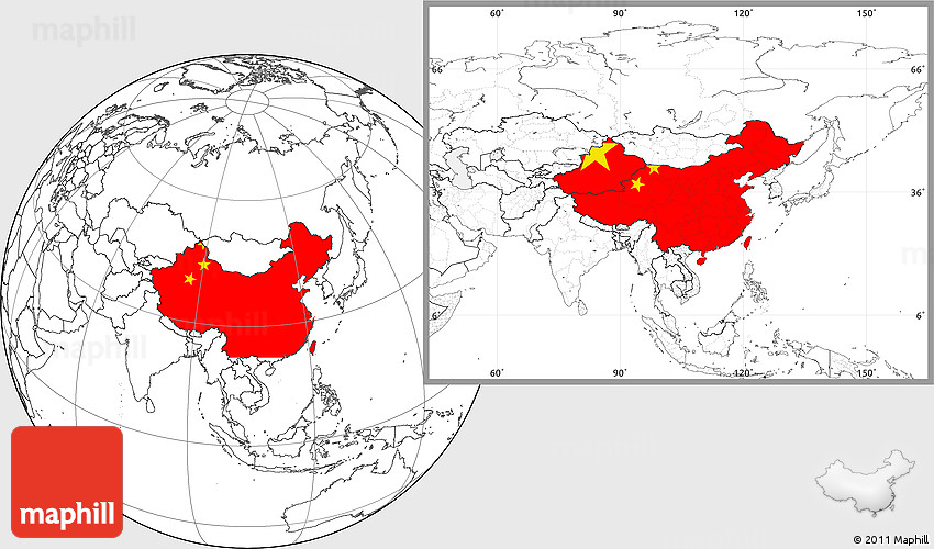 Flag Location Map Of China Blank Outside