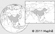 Gray Location Map of China, blank outside