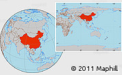 Gray Location Map of China, within the entire continent