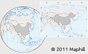Gray Location Map of China, lighten