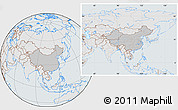 Gray Location Map of China, lighten, semi-desaturated