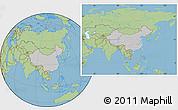Gray Location Map of China, savanna style outside
