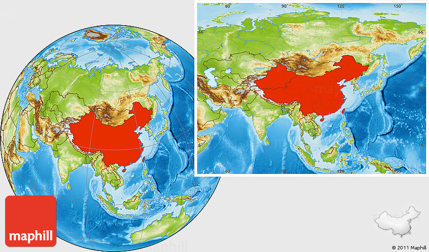 Physical Location Map Of China - Location of china
