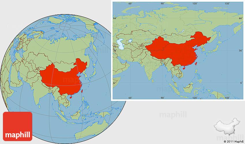 Savanna Style Location Map Of China - Location of china