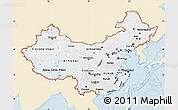 Classic Style Map of China, single color outside