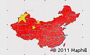 Flag Map of China, flag centered