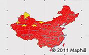 Flag Map of China, flag rotated