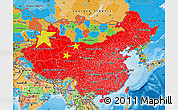 Flag Map of China, political outside