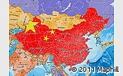 Flag Map of China, political shades outside