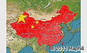 Flag Map of China, satellite outside