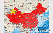Flag Map of China, shaded relief outside
