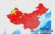 Flag Map of China, single color outside, bathymetry sea