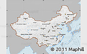 Gray Map of China, single color outside