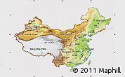 Physical Map of China, cropped outside