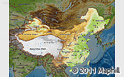 Physical Map of China, darken