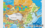 Physical Map of China, political outside, shaded relief sea