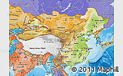 Physical Map of China, political shades outside, shaded relief sea