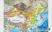 Physical Map of China, semi-desaturated, land only