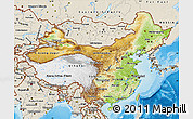 Physical Map of China, shaded relief outside