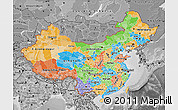 Political Map of China, desaturated