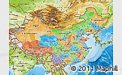 Political Map of China, physical outside