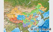 Political Map of China, satellite outside, bathymetry sea