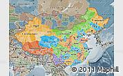 Political Map of China, semi-desaturated