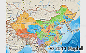 Political Map of China, shaded relief outside, bathymetry sea