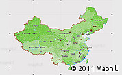 Political Shades Map of China, cropped outside