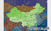 Political Shades Map of China, darken