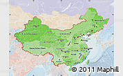 Political Shades Map of China, lighten
