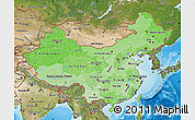 Political Shades Map of China, satellite outside, bathymetry sea
