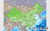 Political Shades Map of China, semi-desaturated, land only