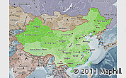 Political Shades Map of China, semi-desaturated