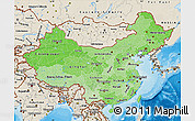 Political Shades Map of China, shaded relief outside, bathymetry sea