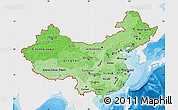 Political Shades Map of China, single color outside