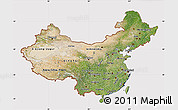 Satellite Map of China, cropped outside