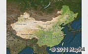 Satellite Map of China, darken