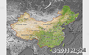 Satellite Map of China, desaturated