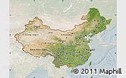 Satellite Map of China, lighten