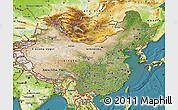 Satellite Map of China, physical outside, satellite sea