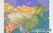 Satellite Map of China, political shades outside, satellite sea