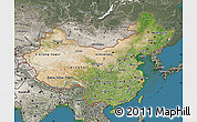 Satellite Map of China, semi-desaturated, land only