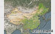 Satellite Map of China, semi-desaturated