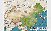 Satellite Map of China, shaded relief outside, satellite sea