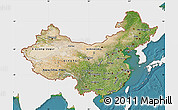 Satellite Map of China, single color outside