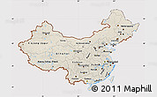 Shaded Relief Map of China, cropped outside