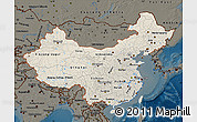 Shaded Relief Map of China, darken