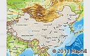 Shaded Relief Map of China, physical outside