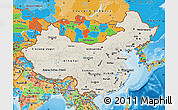 Shaded Relief Map of China, political outside, shaded relief sea